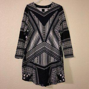 H&M Black White Geometric Boho Tunic Dress XL